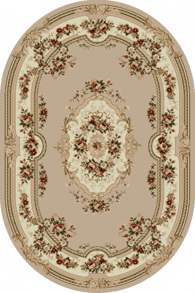 Covor Clasic, Lotos 575, Bej, Oval, 100x200 cm, 1800 gr/mp, 1x2 m 0