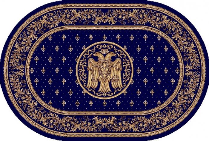 Covor Lotos, Model Bisericesc, 15032, Oval, Albastru, 80x150 cm, 1800 gr/mp 0