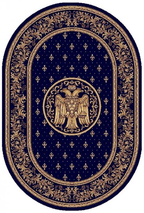 Covor Lotos, Model Bisericesc, 15032-V, Oval, Albastru, 100x200 cm, 1800 gr/mp 0