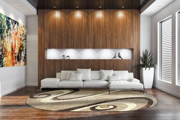 Covor Modern, Fantasy 12517, Bej, Oval, 80x150 cm, 2550 gr/mp 1