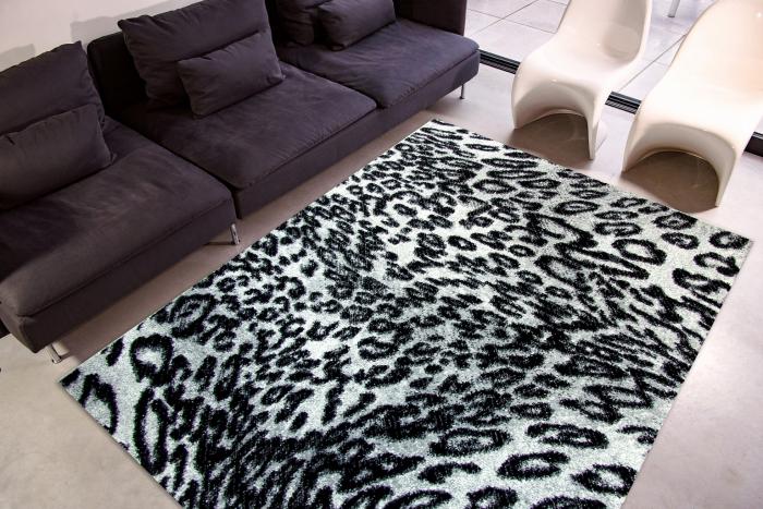 Covor Modern, Kolibri Leopard 11066, Alb / Negru, 160x230 cm, 2300 gr/mp 1