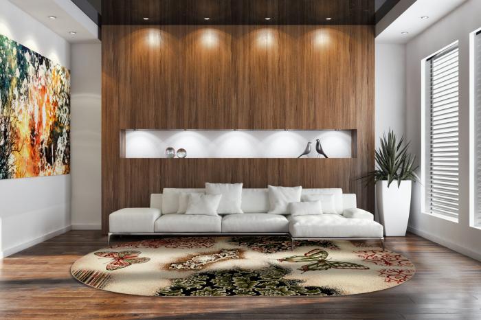 Covor Modern, Lotos Fluturi 1607, Oval, 80x150 cm, 1800 gr/mp 1