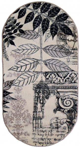Covor Modern, Lotos Frunze 1545, Crem / Bej / Gri, Oval, 80x150 cm, 1800 gr/mp [0]