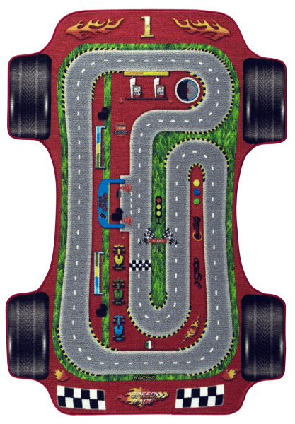 Covor Pentru Copii, Antiderapant, Car Racing, 133x190 cm, 1275 gr/mp [0]