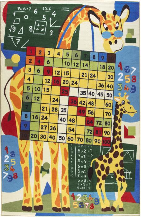 Covor Pentru Copii, Antiderapant, Math Class, Multicolor, 133x190 cm, 1632 gr/mp [0]