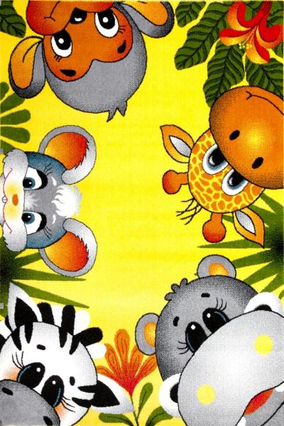Covor Pentru Copii, Kolibri Animalute 11058, Galben, 160x230 cm, 2300 gr/mp 0