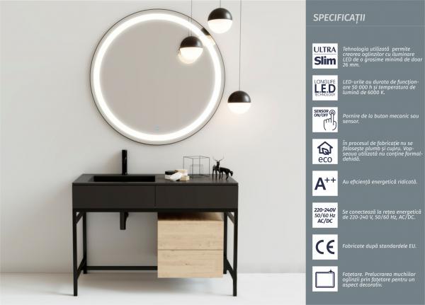 Oglinda cu Iluminare, Round, 800x800x4 mm 1