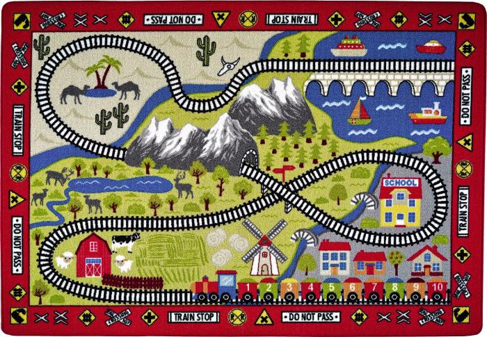 Covor Pentru Copii, Antiderapant, Railway Red, Rosu, 133x190 cm, 1632 gr/mp [0]