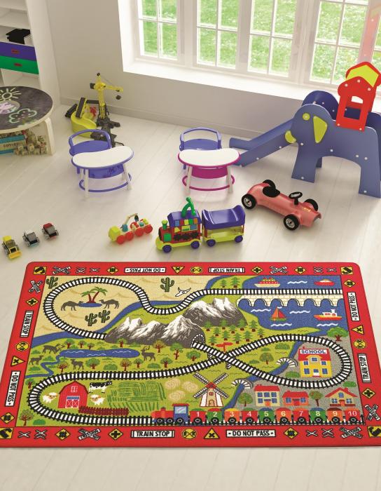 Covor Pentru Copii, Antiderapant, Railway Red, Rosu, 133x190 cm, 1632 gr/mp [1]