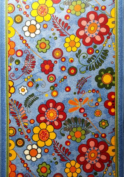 Traversa Flori, Albastru, 100x1000 cm, 820 gr/mp 0