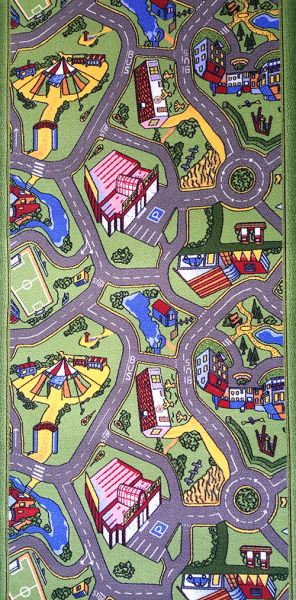 Traversa pentru Copii, Drumulete, Verde, 100x900 cm, 820 gr/mp, 1x9 m. 1