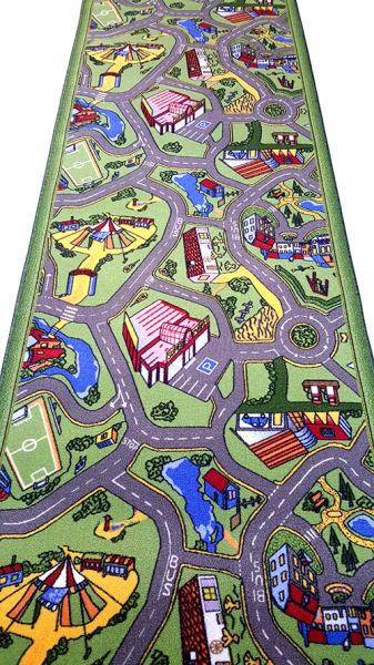 Traversa pentru Copii, Drumulete, Verde, 100x900 cm, 820 gr/mp, 1x9 m. 0