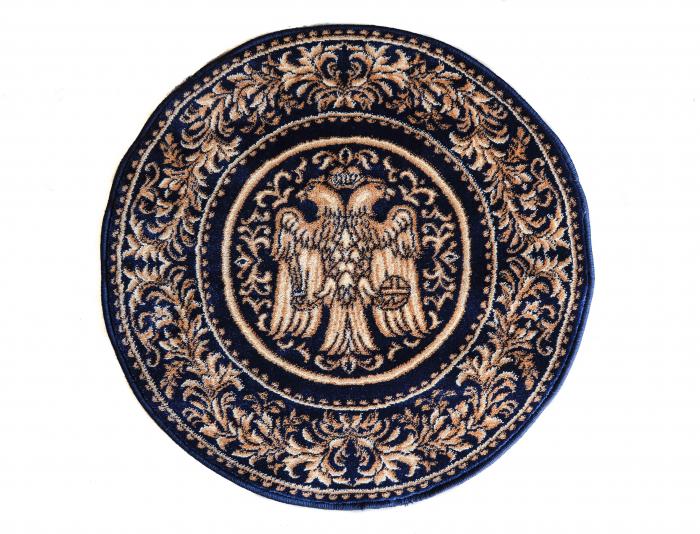 Covor Lotos, Model Bisericesc, 15032, Albastru, Rotund, 100x100 cm, 1800 gr/mp 1