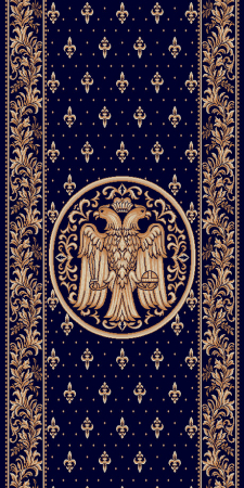 Traversa Covor, Lotos 15032, Albastru, Model Bisericesc, Latime 120 cm, Diverse Lungimi [0]