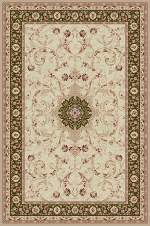 Covor Clasic, Lotos 523, Crem / Verde, 80x200 cm, 1800 gr/mp [0]