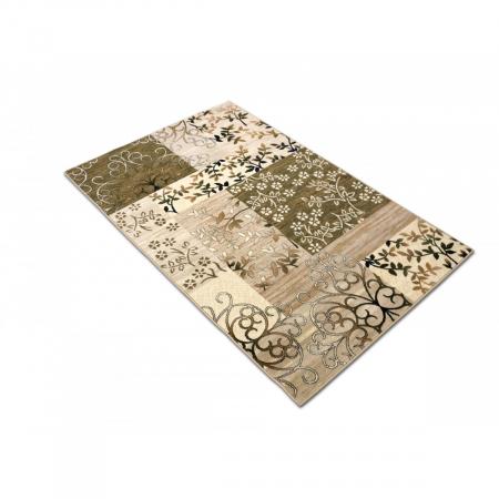 Covor Modern, Lotos 1521, Crem/Verde, 80x150 cm, 1800 gr/mp2