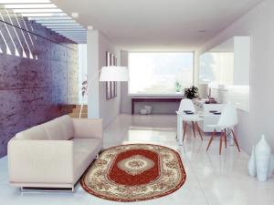 Covor Clasic, Lotos 571, Rosu, Oval, 100x200 cm, 1800 gr/mp2