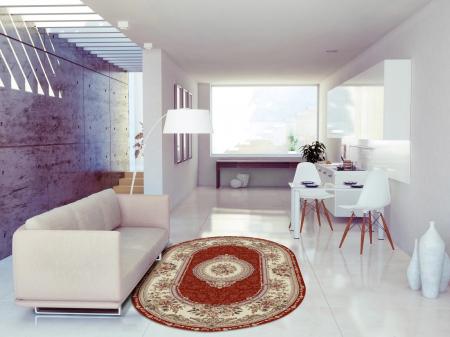 Covor Clasic, Lotos 571, Rosu, Oval, 150x230 cm, 1800 gr/mp2