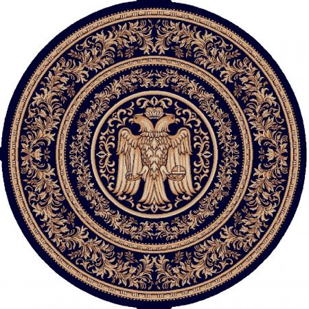 Covor Lotos, Model Bisericesc, 15032, Albastru, Rotund, 100x100 cm, 1800 gr/mp0