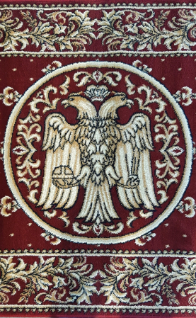 Covor Lotos, Model Bisericesc, 15032, Rosu, Oval, 100x200 cm, 1800 gr/mp5