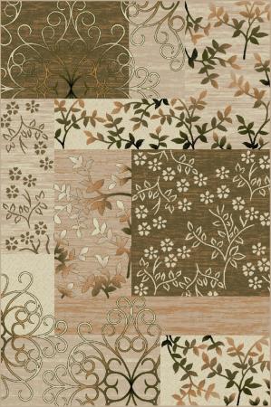 Covor Modern, Lotos 1521, Crem/Verde, 80x150 cm, 1800 gr/mp0