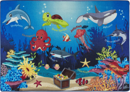 Covor Pentru Copii, Antiderapant, Oceanarium Blue, 100x150 cm, 1275 gr/mp0