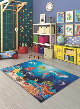 Covor Pentru Copii, Antiderapant, Oceanarium Blue, 100x150 cm, 1275 gr/mp1