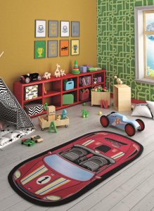 Covor Pentru Copii, Antiderapant, First Racer, Rosu, 100x200 cm, 1432 gr/mp1