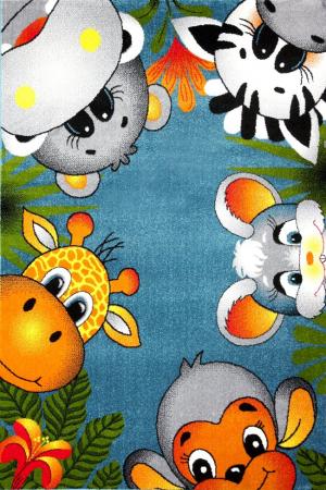 Covor Pentru Copii, Kolibri Animalute 11058, Albastru, 240x340 cm, 2300 gr/mp0