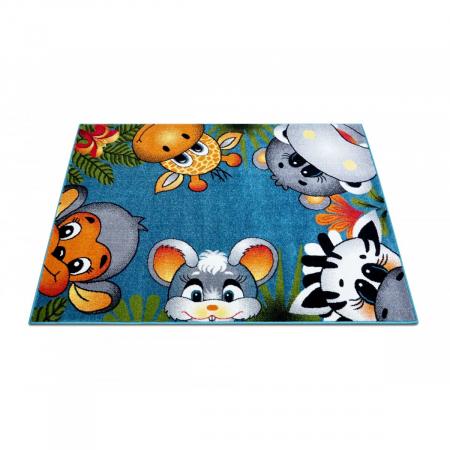Covor Pentru Copii, Kolibri Animalute 11058, Albastru, 80x150 cm, 2300 gr/mp2