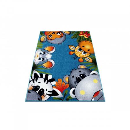 Covor Pentru Copii, Kolibri Animalute 11058, Albastru, 80x150 cm, 2300 gr/mp1
