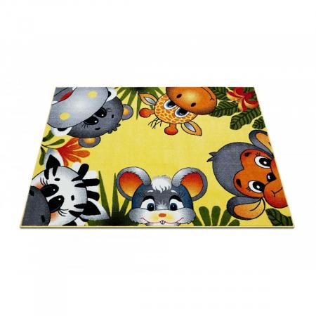 Covor Pentru Copii, Kolibri Animalute 11058, Galben, 160x230 cm, 2300 gr/mp2