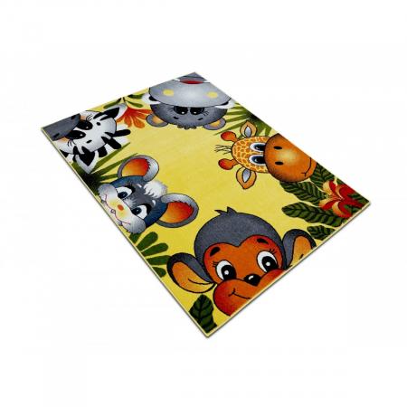 Covor Pentru Copii, Kolibri Animalute 11058, Galben, 160x230 cm, 2300 gr/mp3