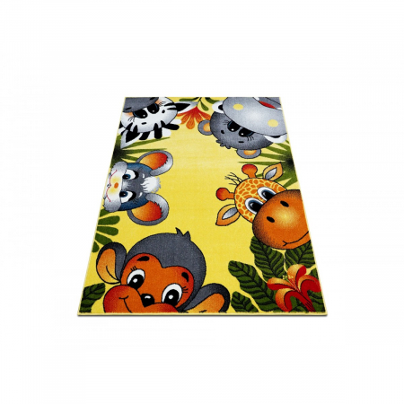 Covor Pentru Copii, Kolibri Animalute 11058, Galben, 160x230 cm, 2300 gr/mp1