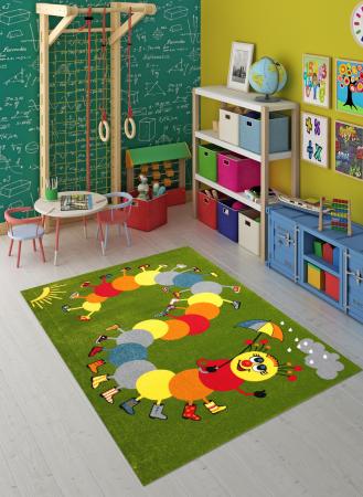 Covor Pentru Copii, Kolibri Omida 11057, Verde, 160x230 cm, 2300 gr/mp4