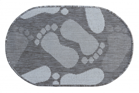 Covor Pentru Usa Intrare, Flex 19614-111, Antiderapant, Maro/Bej, Oval, 50x80 cm [0]