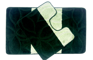 Set 2 covorase baie Erdek Hunter Green, 60x100 cm, 50x60 cm0