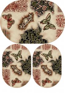 Set 3 Covoare Lotos 1607 Fluturi, Oval, Multicolor: 2 buc. 80x150 cm, 1 buc. 120x170 cm. [0]