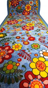 Traversa Flori, Albastru, 100x1000 cm, 820 gr/mp1