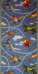 Traversa pentru Copii, Avioane, Albastru, 100x300 cm, 820 gr/mp0