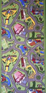 Traversa pentru Copii, Drumulete, Verde, 100x900 cm, 820 gr/mp, 1x9 m.1
