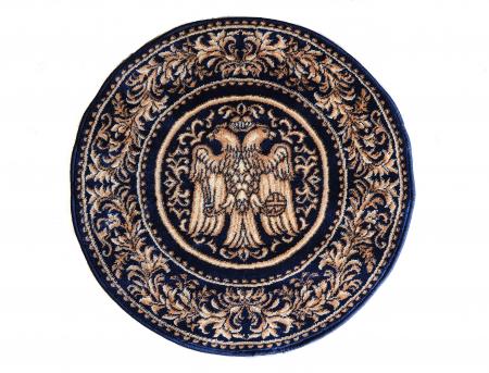 Covor Lotos, Model Bisericesc, 15032, Albastru, Rotund, 200x200 cm, 1800 gr/mp1