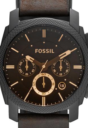 Fossil Ceas cronograf maro inchis si bratara de piele Machine FS5251SET [1]