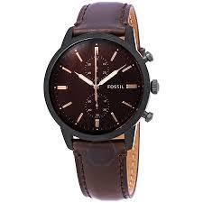 Fossil, Ceas cronograf cu o curea de piele Townsman, Maro inchis [0]