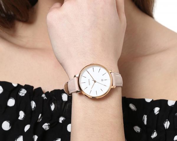 Ceas de dama original Fossil cu o curea de piele Jacqueline, Crem [1]