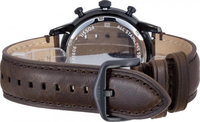 Fossil, Ceas cronograf cu o curea de piele Townsman, Maro inchis [2]