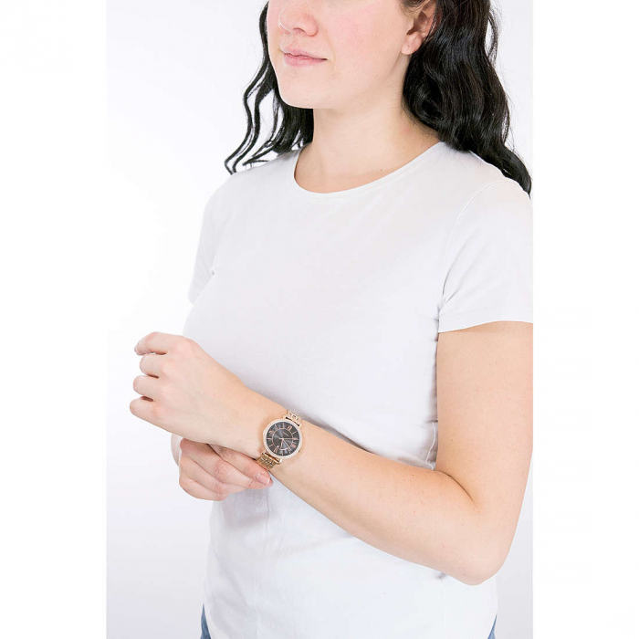 Ceas de dama Fossil, analog cu cadran cu model guilloche, Auriu rose , Antioxidabil [4]