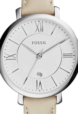 Ceas de dama original Fossil cu o curea de piele Jacqueline, culoare Bej deschis [1]
