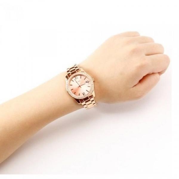 Ceas Fossil Scarlette,cu cristale minerale, Auriu rose [4]