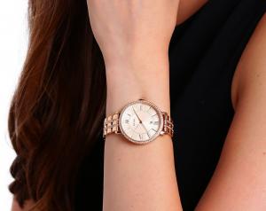 Ceas de dama Fossil, plin cu cristale LUX stralucitoare, Auriu rose, ES3546 [5]